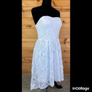 White lace strapless short dress wedding summer